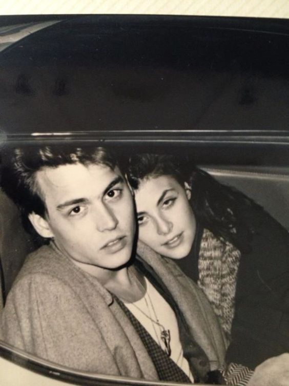 A very young Johnny Depp and Sherilyn Fenn