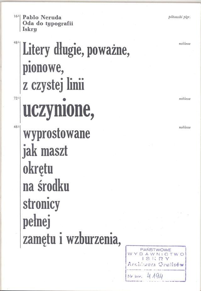 """""""Oda do typografii"""" Pablo Neruda Cover by Jan Bokiewicz, Wojciech Freudenreich Translated by Zofia Szleyen Published by Wydawnictwo Iskry 1982"""