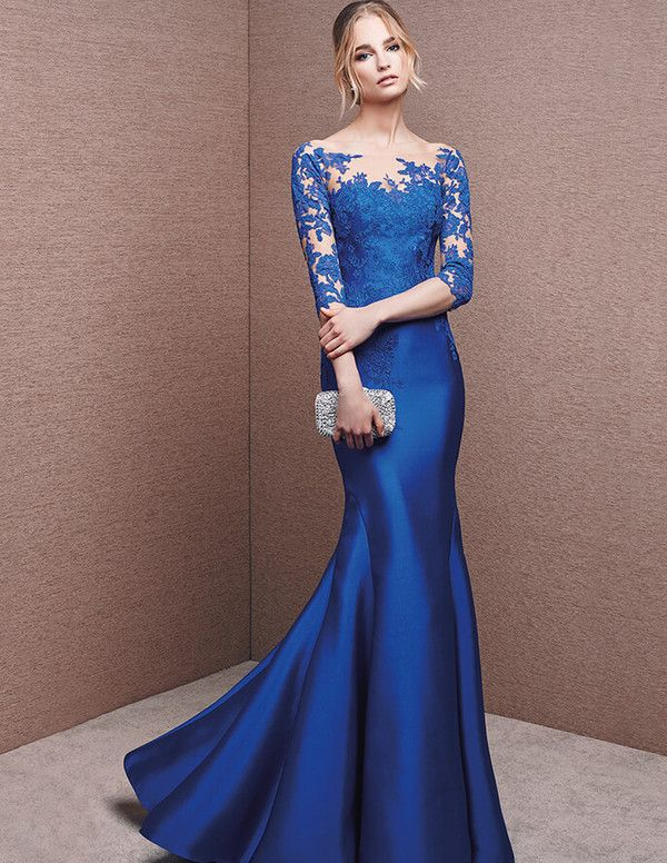 Mermaid/Trumpet  Bateau  Long Sleeve Floor Length  Tulle  Satin  Lace Applique  Zipper Up