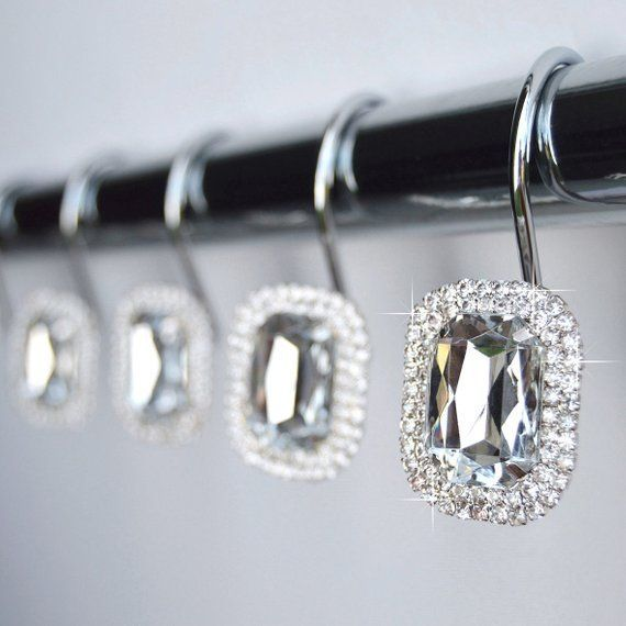 Duschvorhang Haken Ringe Luxuriose Klare Dekorative Kristall