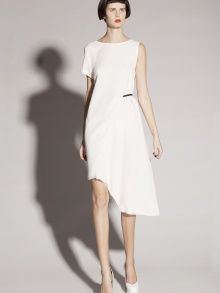 WHITE ASYMMETRIC MIDI DRESS | KAMENSKAKONONOVA | NOT JUST A LABEL