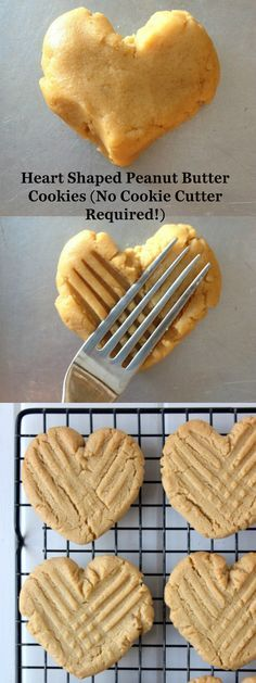 Valentine's Day Heart Shaped Peanut Butter Cookies! No Cookie Cutter Required!