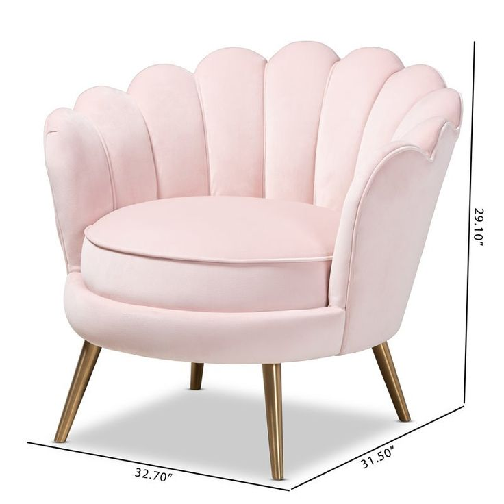 Baxton studio cosette light pink velvet seashell accent