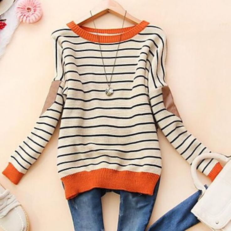 Women's Round Collar Fashion Stripe Long Sleeve Sweater $23.99
