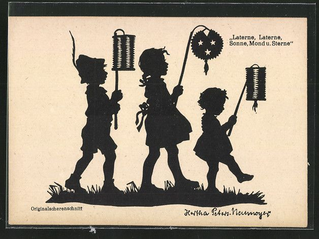 old postcard: Künstler-AK sign.Hertha Peters-Neumeyer: Kinder mit Laternen, Scherenschnitt