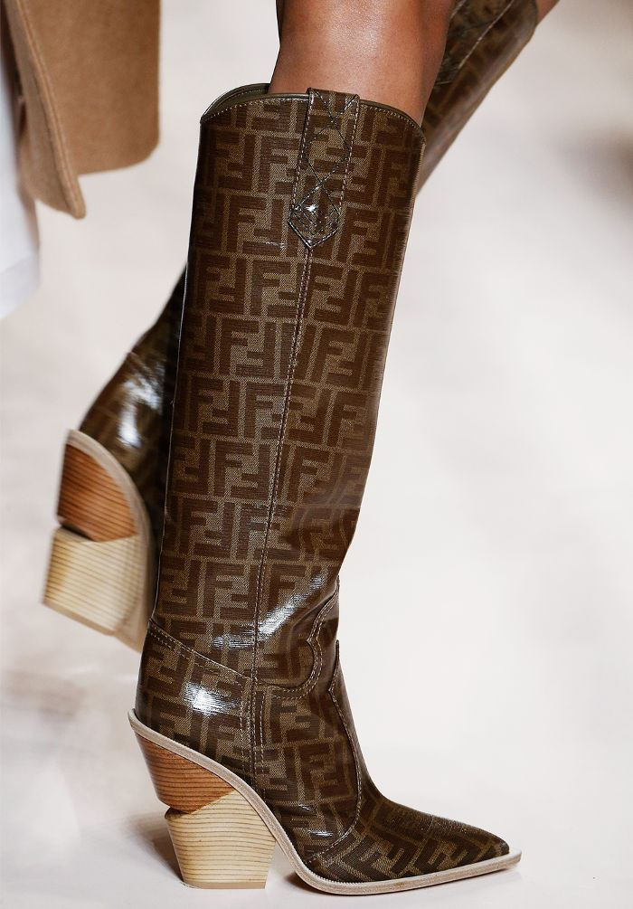 123ee0206a8 Shoe trends autumn winter 2018  Fendi s monogrammed knee-high cowboy boots