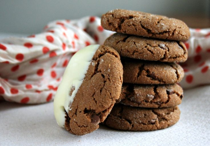 Chewy chocolate molasses crinkles dipped in white chocolate are chewy ...