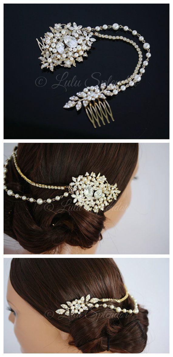 Gold Wedding Headpiece Bridal Hair Accessory Beaded Hair Piece Swarovski Crystal Pearl Bridal Hair Chain AMBRIA HP