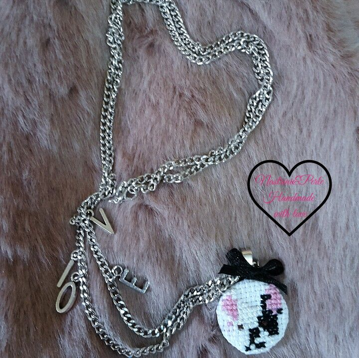 Cross stich frenchie necklace