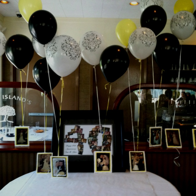 40th anniversary collage and photo balloon decorations for 40th wedding anniversary decoration ideas