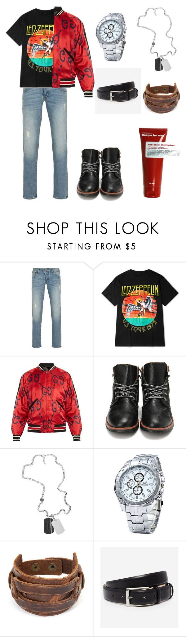 """""""Sandman"""" by slowsilence20 ❤ liked on Polyvore featuring Armani Jeans, Gucci, Diesel, West Coast Jewelry, Bonobos, Recipe For Men, men's fashion and menswear"""