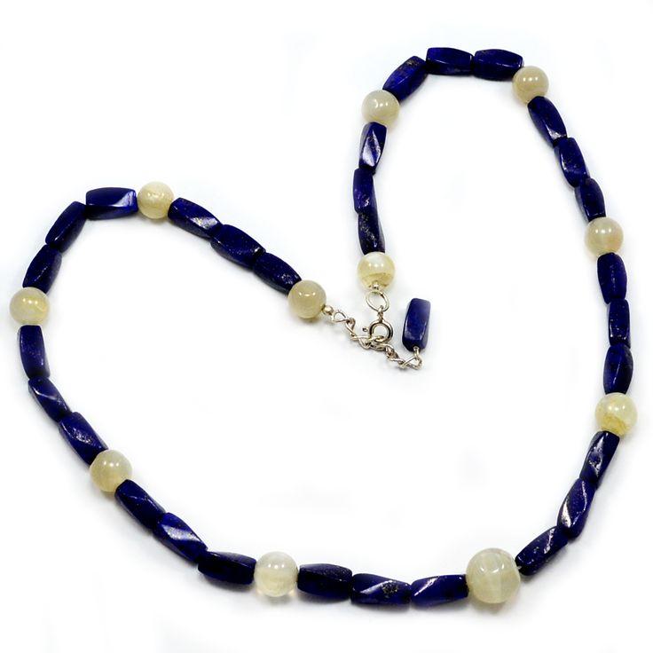 Silvesto India Lapis Lazuli & Gray Quartz 925 Sterling Silver Necklace PG-100025   https://www.amazon.com/dp/B06XSZZ2GX