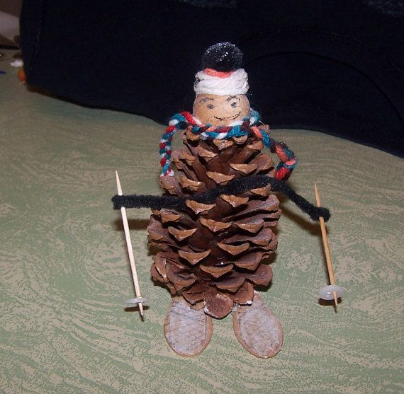 Vintage pine cone skier skiing figure Christmas ornament