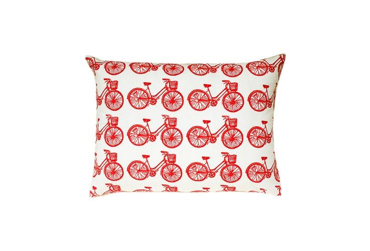 One Kings Lane - Cupcakes and Cashmere Picks - Bicycle Block Print Sham Accent Pillow: Bike Pillows, Bicycles Pillows, Red Bike, Accent Pillows, Blocks Prints, Blocks Pillows, Prints Accent, Bike Blocks, Patterns Blocks