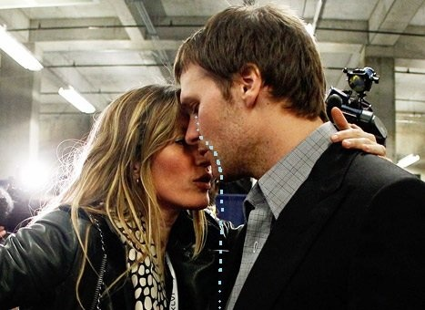 Tom is crying because not even his super-hot model wife can cheer him up after losing the Superbowl to the Giants... again.