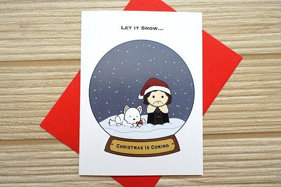 Jon Snow Christmas Card Game Of Thrones A6  Small Card Blank Inside Handmade
