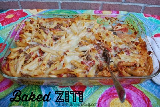 This recipe takes baked ziti to a lighter level by using a small amount of milk to even out the tomato sauce and in place of ricotta cheese.