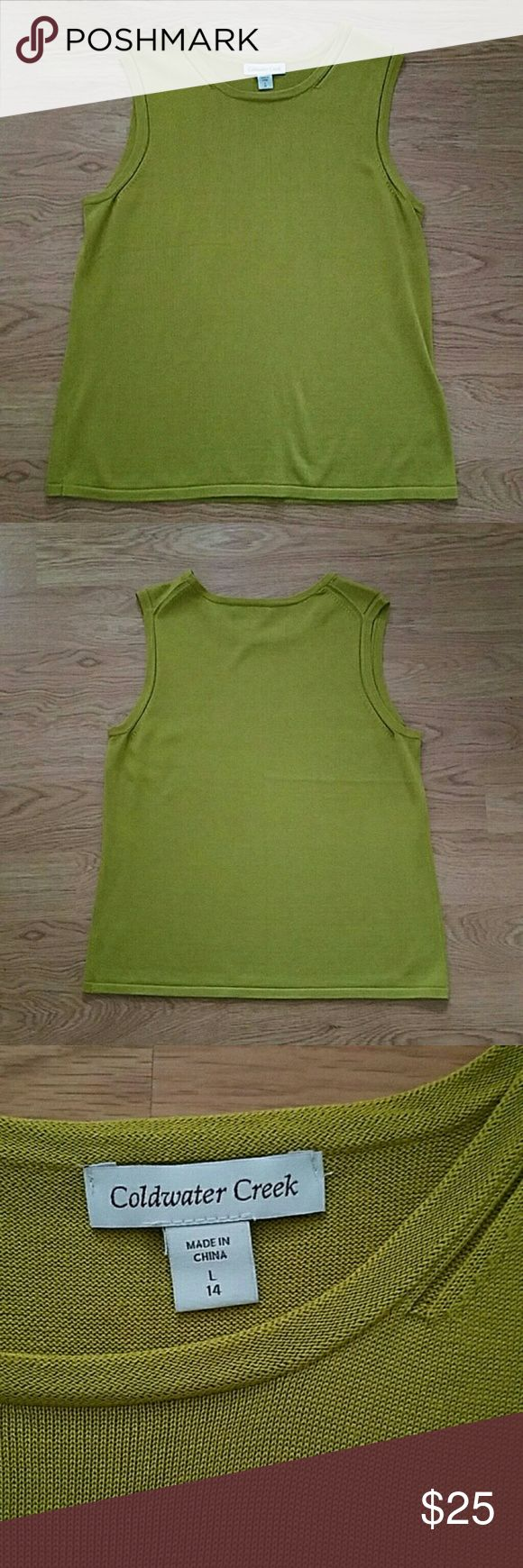 Large, Sleeveless Silk Blouse, Coldwater Creek Flawless & Like New! Chartreuse shell made of 70% silk. Size Large (14) by Coldwater Creek. Coldwater Creek Tops Tank Tops