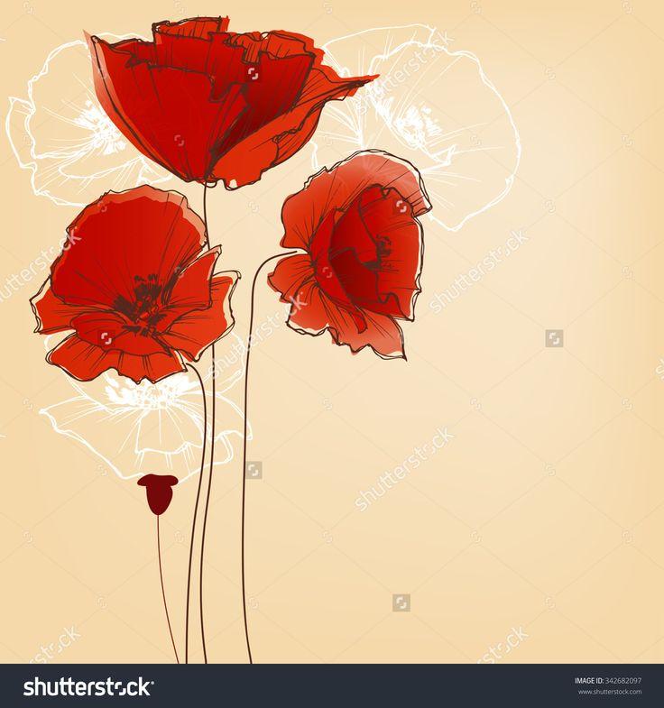 Flower Background For Greeting Cards, Poppy Design Stock Vector Illustration…