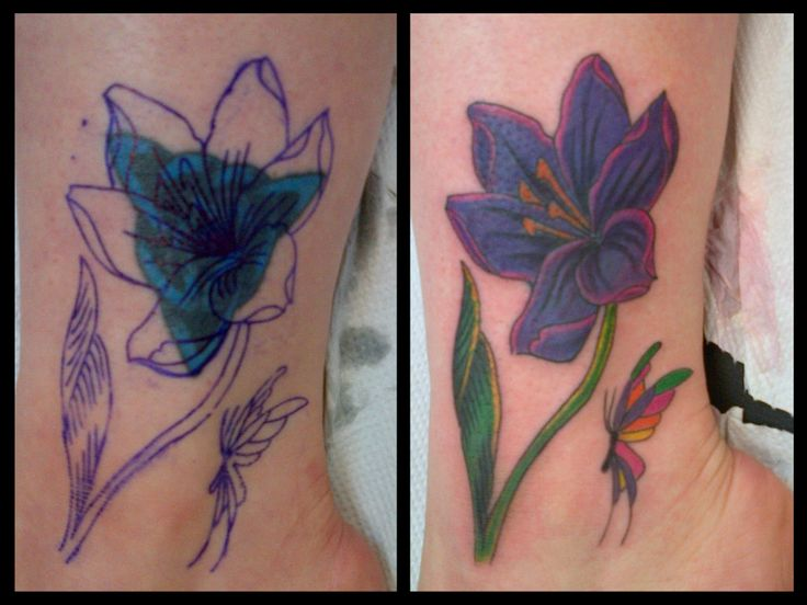 Three layers of ink cover up of a coverup tattoo flower for Ankle tattoo cover ups
