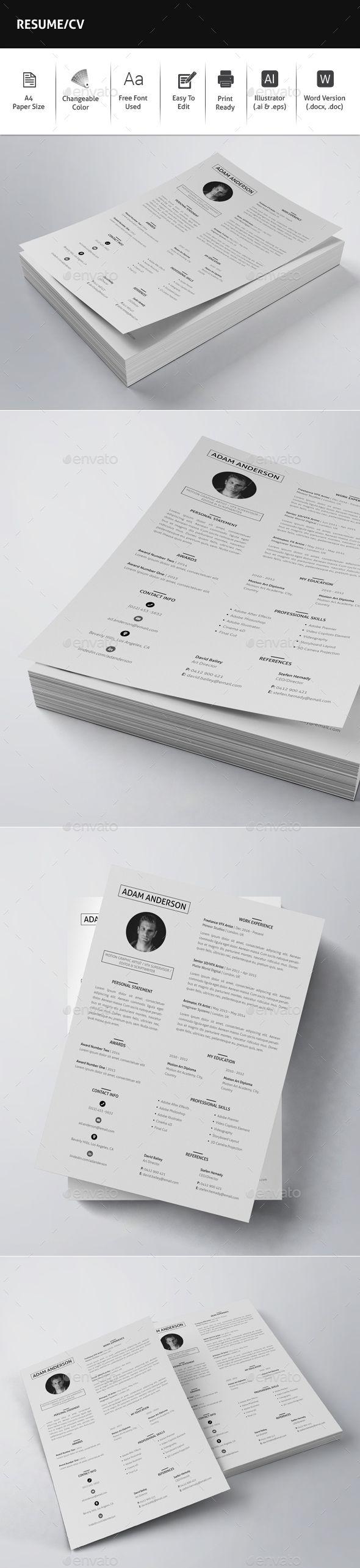 Resume / CV Template Vector EPS, AI Illustrator, MS Word