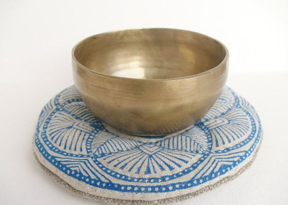 Handmade Round Blue Om Mandala singing bowl cushion by GaneshasRat