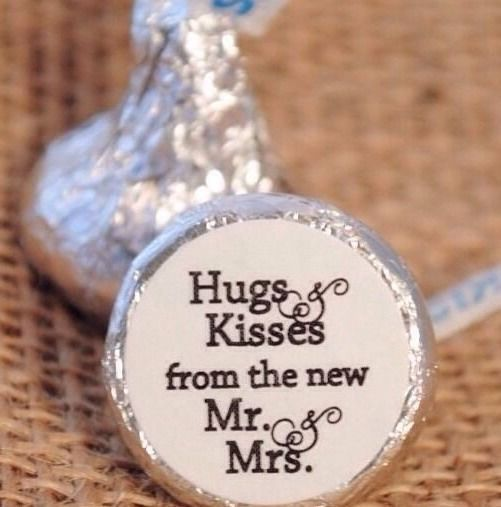108 Hugs & Kisses from the new Mr. & Mrs. Hershey Kiss Wedding Stickers Favors