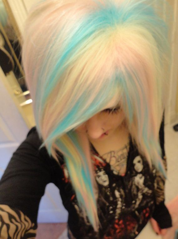 rainbow pastel blue pink blonde white wig// emo girl scene punk gothic raver // bangs // ombre long bangs // two tone on Etsy, $119.99