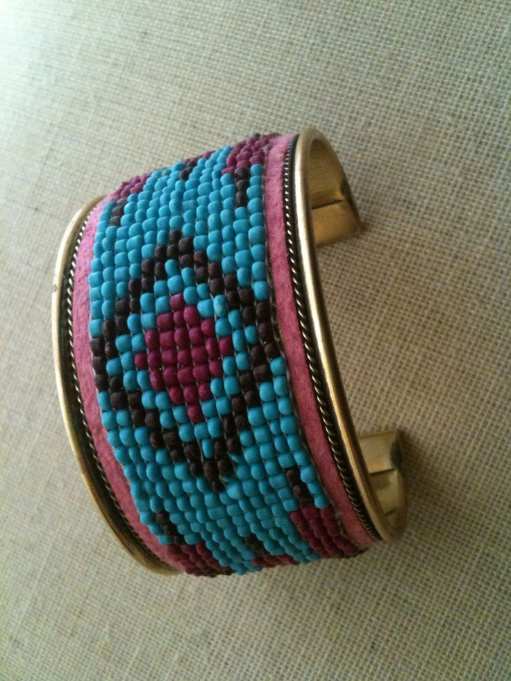 Aztec tribal beaded cuff bracelet