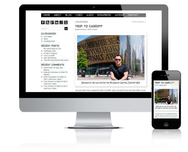 Mik Scarlet, responsive WordPress theme by Diane Wallace, via Behance