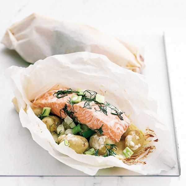 Dinner Party Main Course Ideas Part - 44: Baked Salmon And Potato Parcels