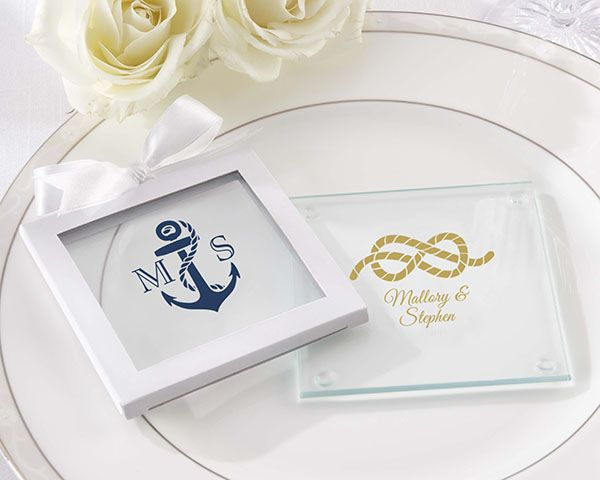 112 best coaster wedding favors images on pinterest kate aspen personalized glass coasters kates nautical wedding collection set of 12 junglespirit Images