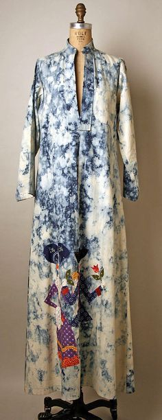 Denim caftan with appliquéd figures of a man and woman, by Serendipity 3, American, 1976.