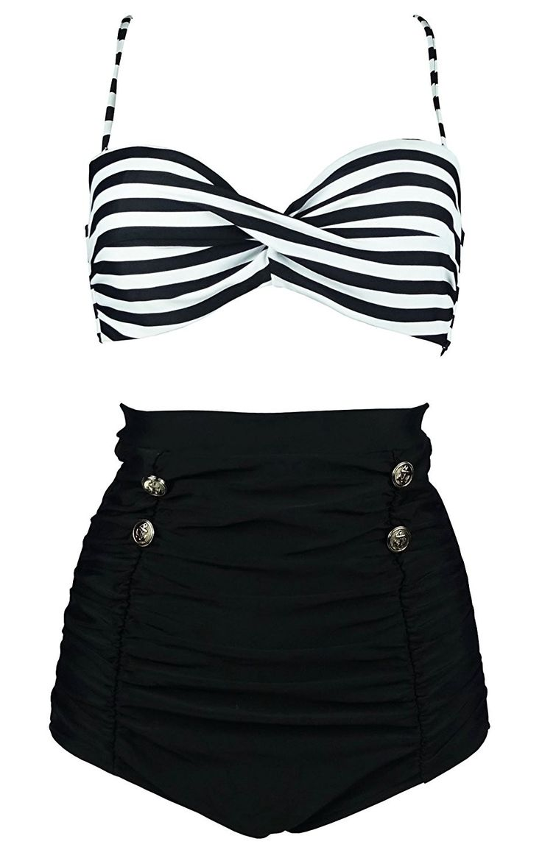Women's Clothing, Swimsuits & Cover Ups, Bikinis, Sets, Retro Polka Dot High Wai…