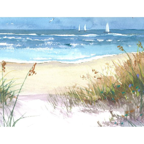 Watercolor landscape sea oats Painting PRINT by derekcollins
