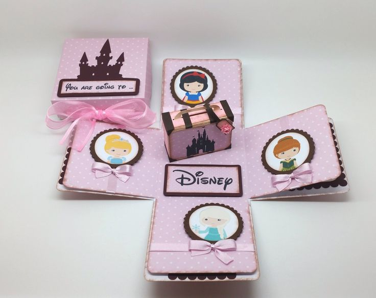 You are going to Disney  - Surprise trip - Travel Theme - Suitcase exploding box card - pink by LittleSofi on Etsy https://www.etsy.com/listing/219960966/you-are-going-to-disney-surprise-trip