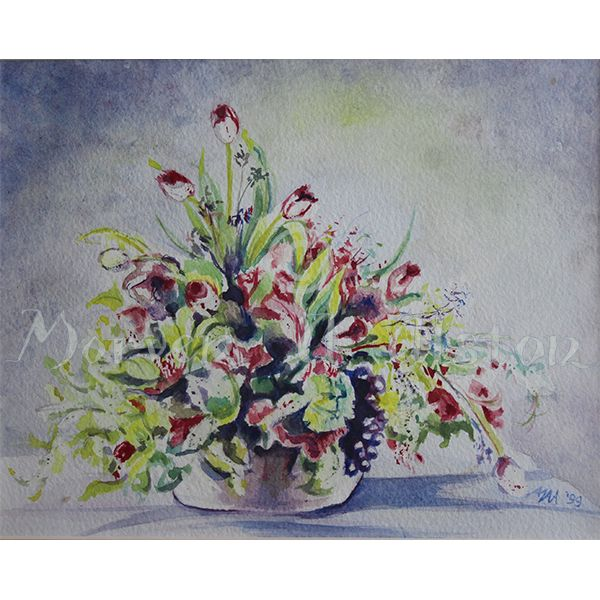 Tulips, Grapes and All. A Still Life drawing by Morven A. Alston.