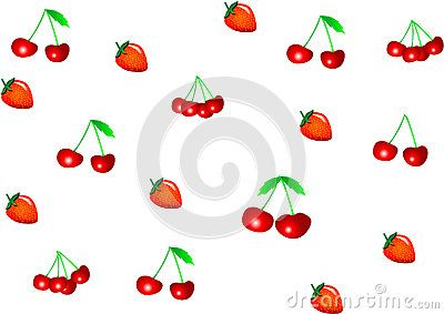 Fruit vector pattern with strawberries and cherries.