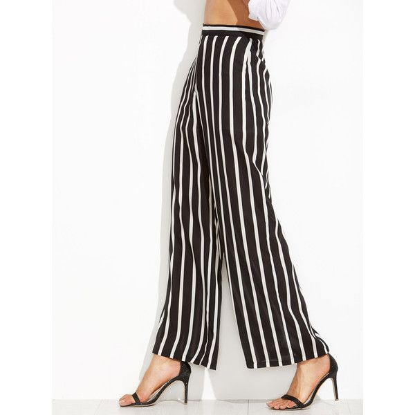 SheIn(sheinside) Vertical Striped Wide Leg Pants (63 BRL) ❤ liked on Polyvore featuring pants, striped wide leg pants, high waisted palazzo pants, high waisted wide leg trousers, palazzo pants and white high waisted trousers