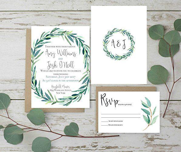 Greenery Wedding Invitations Wedding Invitations Set, Rustic Wedding Invites,  Eucalyptus Wedding Invitation Set Of Invitation Plus Envelope Only Matching  ...