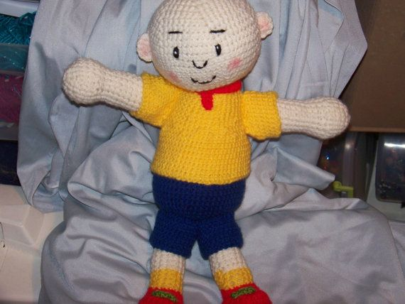 Crochet Caillou doll Bald boy cartoon children's by EEKsCreations