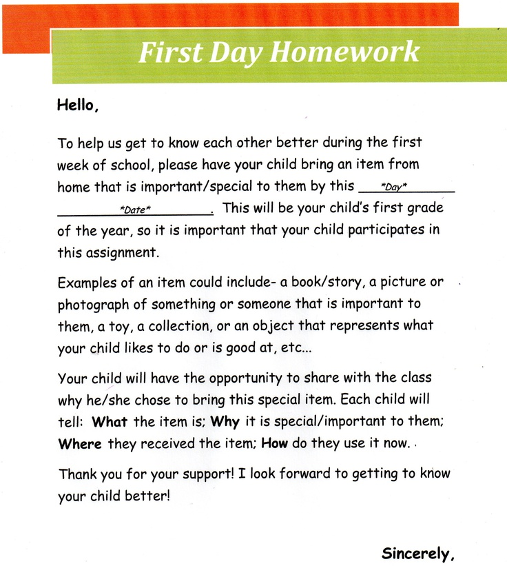 teacher note to mothers and fathers in relation to homework