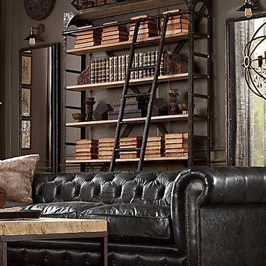 Metal book shelf w/books displayed horizontaly
