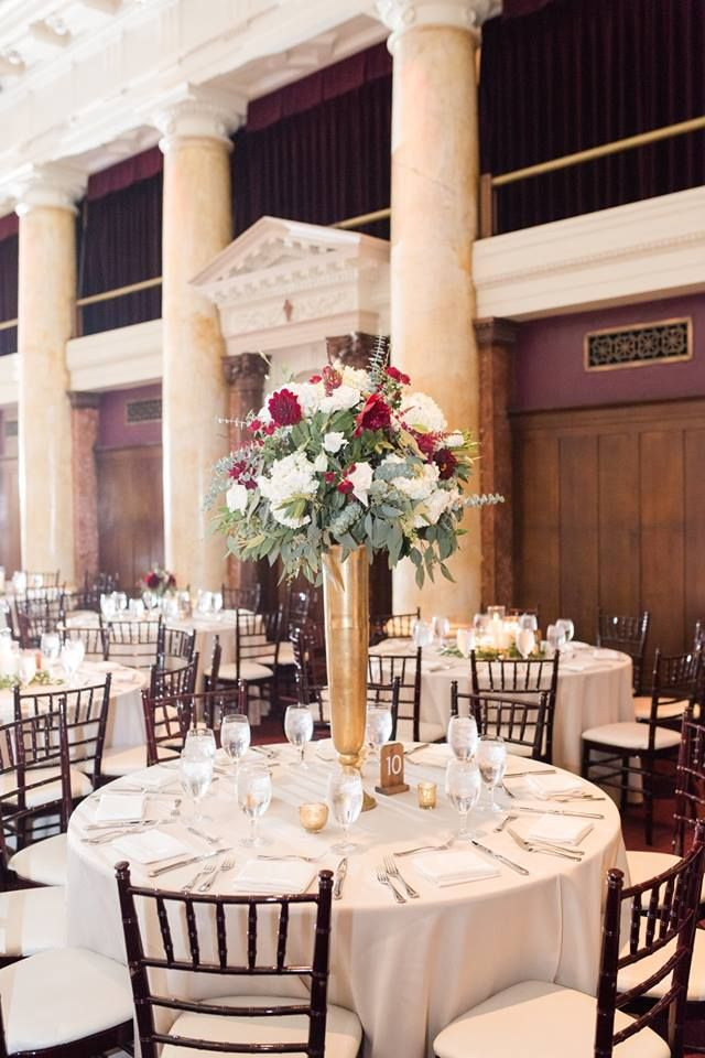 Gold Burgundy White Centerpiece The Temple Of Performing Arts Des Moines Ia White Willow Events Wedding Event Planning White Centerpiece Event Design
