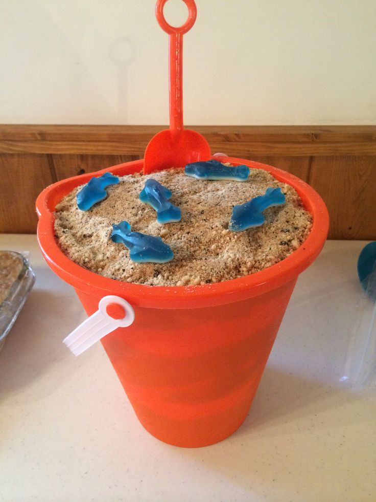 Sand pudding dessert made for a family Labor Day picnic. A summer twist on a classic, dirt pudding, served in a sand bucket to keep with the end of summer theme!