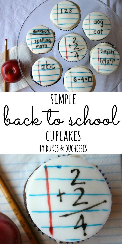 simple back to school cupcakes made with storebought fondant and edible markers