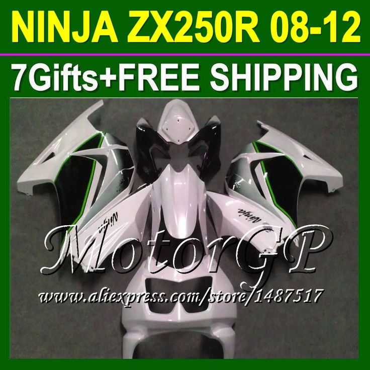 Купить товар7 подарки + зализа жемчуг белый для Kawasaki ниндзя 250r 08 09 10 11 12 16 # 158 черный ZX250 ZX 250 ZX250R 2008 2009 2010 в категории Щитки и художественная формовкана AliExpress.