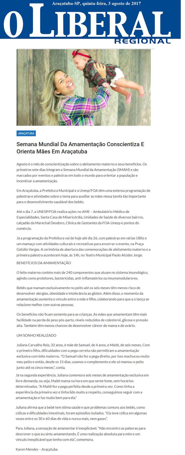 Semana mundial da amamentação conscientiza e orienta mães em Araçatuba. Fonte: O Liberal Regional