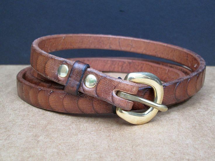 Leather belt , luxury brown thin belt , ladies skinny belt ...