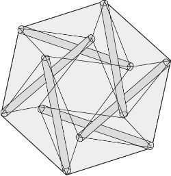 tensegrity system, n an interconnected network of structures which use tension and pressure in order to move or retain their shape.